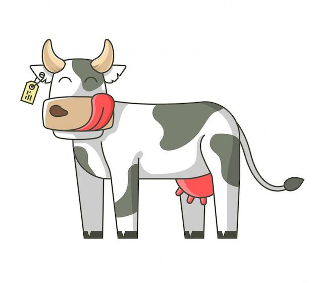 Веселая корова с облизывающим лицом. изолированный