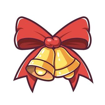 クリスマスの鐘と赤の弓。 。