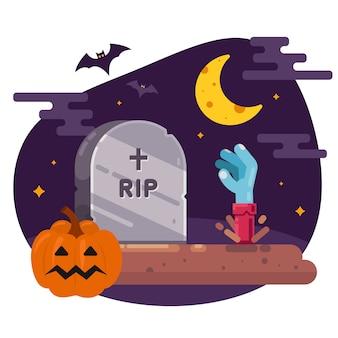 Воскресение мертвых из могилы. иллюстрация для хэллоуина. плоское векторное изображение.