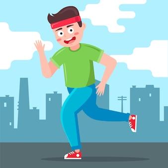 男性ランナーが街を背景に走ります。