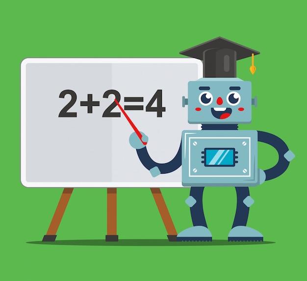 教室のイラストで子供たちを教えるロボット