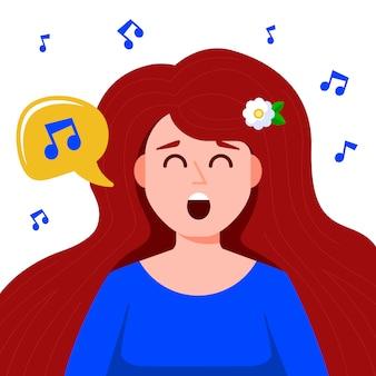 Молодая девушка поет песню