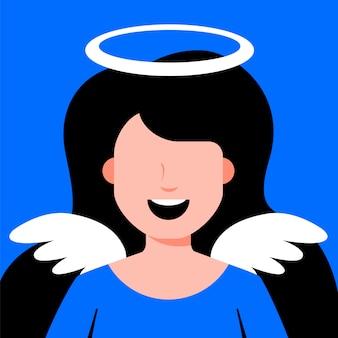 天使の女の子の翼。宗教衣装のコスプレ。フラットな文字ベクトルイラスト。