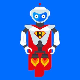 鉄のロボットのスーパーヒーロー。未来からのキャラクター。サイエンスフィクションのヒーロー。フラットベクトルイラスト。