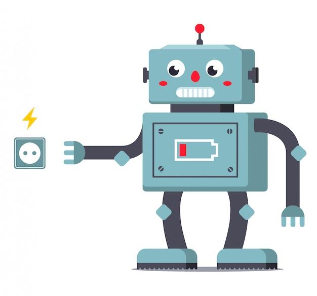 Разряженный робот отправляется в розетку, чтобы пополнить запас энергии. характер