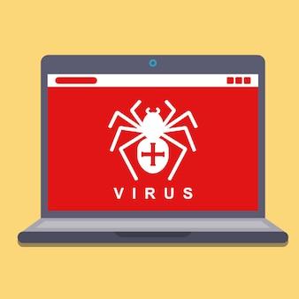 ラップトップ上のコンピューターウイルス。ハッキングスパイウェア。フラットのベクトル図