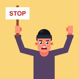 Человек протестующий с плакатом в руках с надписью «стоп». плоский характер векторные иллюстрации.
