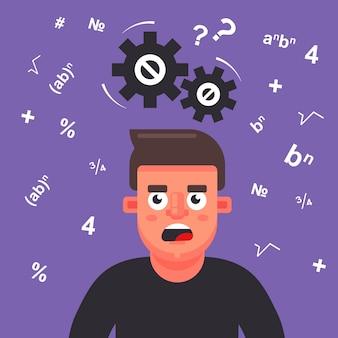 Человек думает над математической задачей. шестерни скрипят над головой.