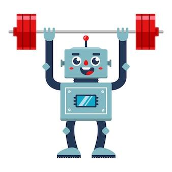 Культурист робот поднимает штангу