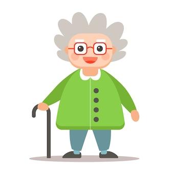 Пожилой мужчина с тростью, стоя в полный рост на белом. милый персонаж бабушки.