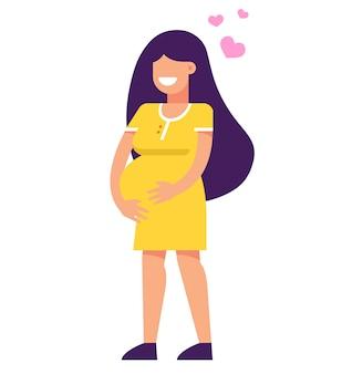 妊娠中の女の子が笑っています。腹部で手をつないでいます。