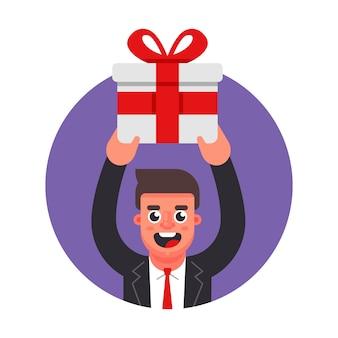 マネージャーは贈り物をします。オフィスでのお祝い。フラットな文字ベクトルイラスト。