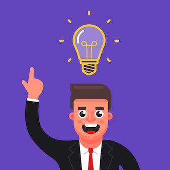 マネージャーは素晴らしいアイデアを得ました。あなたの頭の上に電球。フラットな文字ベクトルイラスト。