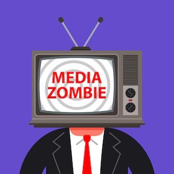 Человек с телевизором вместо головы иллюстрации
