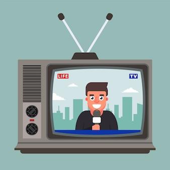 Старый телевизор показывает прямой репортаж с корреспондентом. плоская иллюстрация
