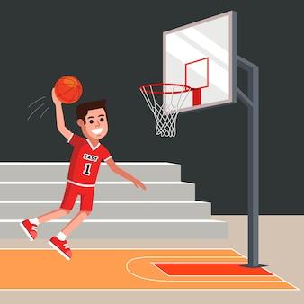 バスケットボールプレーヤーは、バスケットにオレンジ色のボールを投げます。フラットな文字ベクトルイラスト。
