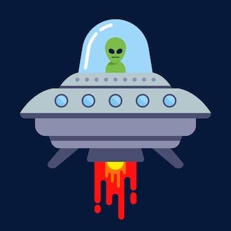 Инопланетянин летит на летающей тарелке ночью. плоская векторная иллюстрация.