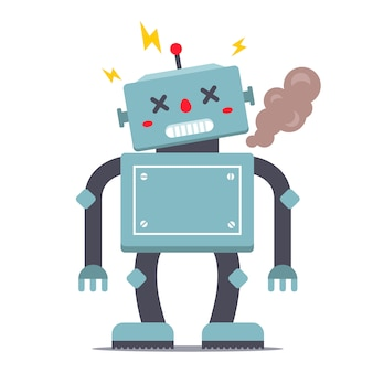 ロボットが壊れています。煙と輝き。キャライラスト