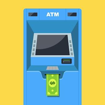 Банкомат выдает деньги. зарплата в долларах. плоская векторная иллюстрация.