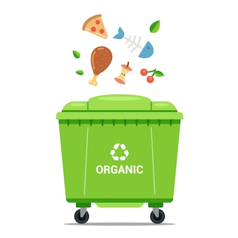 Выбросить органические отходы в большой зеленый мусорный ящик. плоская векторная иллюстрация.