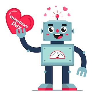 かわいいロボットは彼の手で心を保持します。バレンタインデーのカード。フラットなキャラクター。