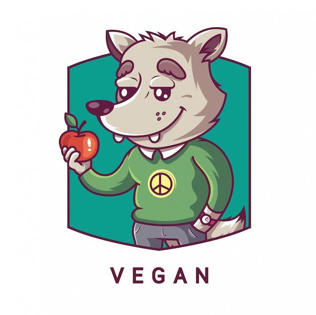 彼の足でリンゴを保持しているキャラクターオオカミ。ベジタリアンキャラクター。エンブレムイラスト。