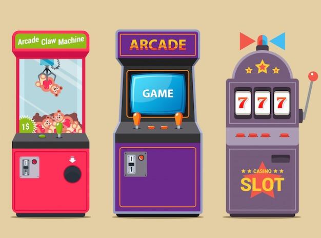 Набор игровых автоматов в торговом центре. плоская иллюстрация.