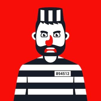 刑務所の縞模様の制服を着た怒っている犯罪者。フラットな文字ベクトルイラスト。
