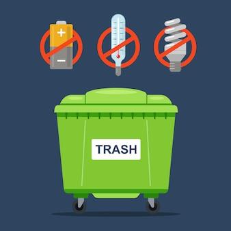 通常の廃棄物容器に投入してはならない禁止廃棄物。温度計、バッテリー、蛍光灯。
