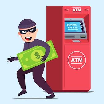 Вор украл деньги из банкомата. счастливая криминальная иллюстрация.