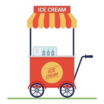 Красная тележка с мороженым на улице. малый бизнес.