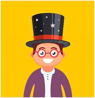 メガネと黄色の背景に帽子と若い男。男性の魔術師の笑顔。かわいいキャラクターのベクトル図