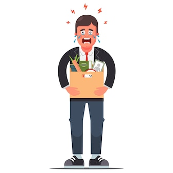 Уволенный безработный человек с коробкой вещей. плоский характер иллюстрации.