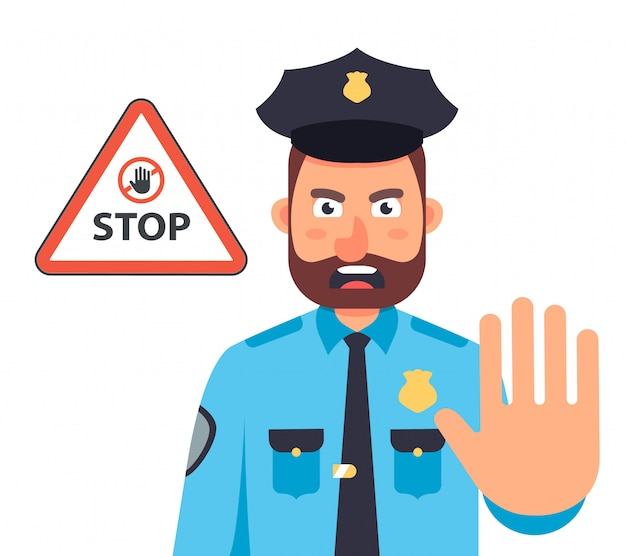 Милиционер со стороны останавливает движение. стоп знак в треугольнике. плоский характер иллюстрации.