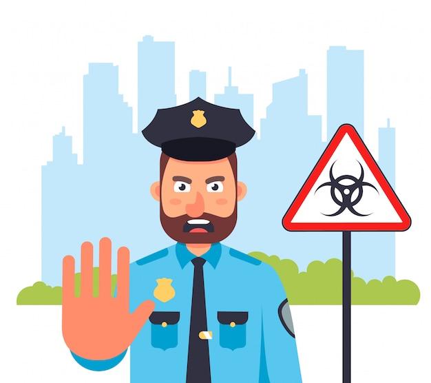 Город находится на карантине. полицейский не пускает. комендантский час на улице. плоская иллюстрация.