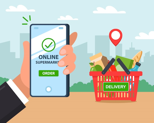 Онлайн доставка товара. заказать по телефону. иллюстрации.