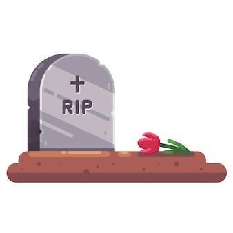 Могильный камень с цветком. прощай с родственником. свежая могила плоская векторная иллюстрация.