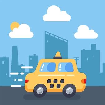 かわいい黄色のタクシーは急いでいて、高速で運転しています。乗客の輸送のフラットの図。ベクトルの風景