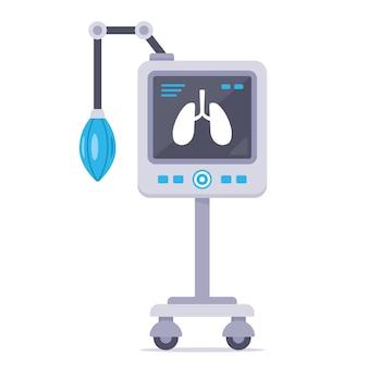 Аппарат искусственной вентиляции легких. спасение человека от коронавируса. иллюстрация