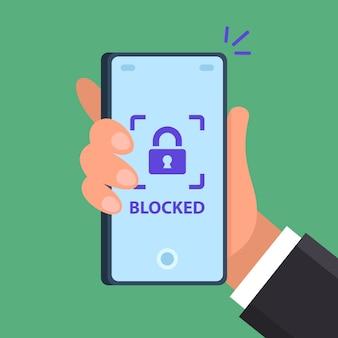 Сообщение телефона заблокировано. безопасный смартфон.