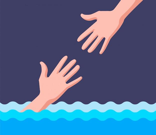 Спасатель помогает утопающему в воде. плоская иллюстрация.