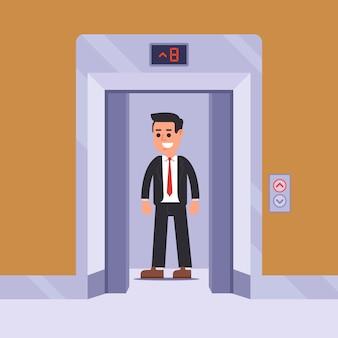 Пассажир лифта поднимается на свой этаж. плоская иллюстрация