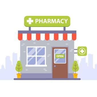 Кирпичное здание аптеки. плоская иллюстрация.