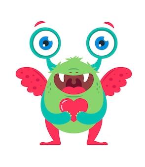 愛する人を待っている彼の手に心を持つかわいい緑の怪物。