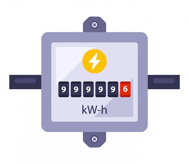 Счетчик электроэнергии для учета потребления энергии. плоская иллюстрация