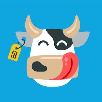 青色の背景に満足している牛の顔。フラットキャライラスト。