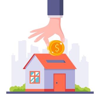 あなた自身の家に住宅ローンを取りなさい。お金を節約します。フラットの図。