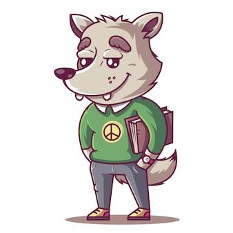オオカミは笑います。本を持つ若い学生。