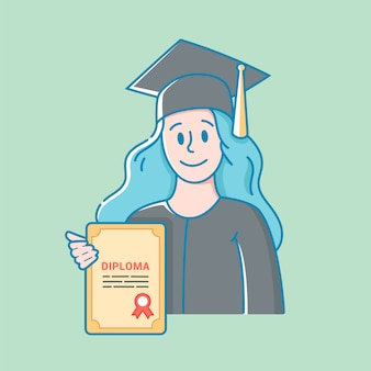 帽子とガウンの女の子は彼女の手で教育の卒業証書を保持しています