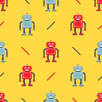 かわいいロボットのシームレスなパターン。生地とパッケージングの子供のキャラクター